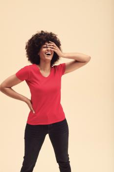 Tričko dámské Lady-Fit Valueweight V-Neck T