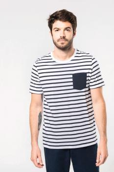 Pánské pruhované tričko s kapsičkou